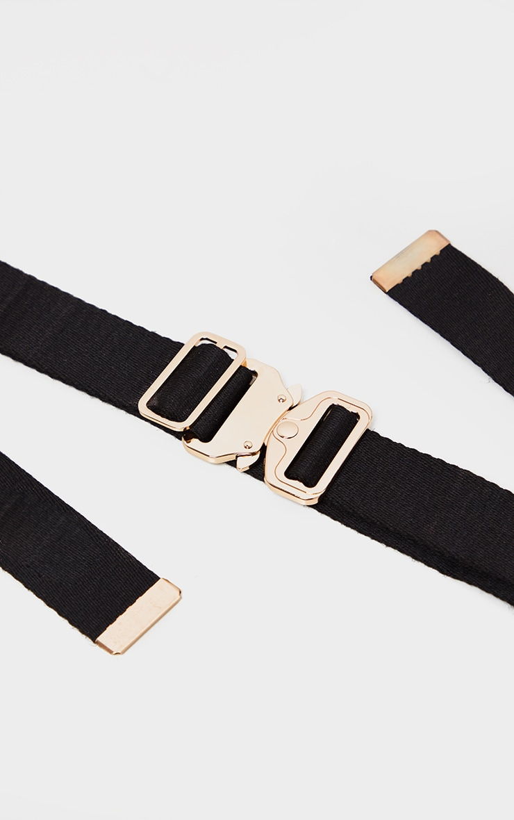 Black Woven Gold Buckle Tape Belt 3