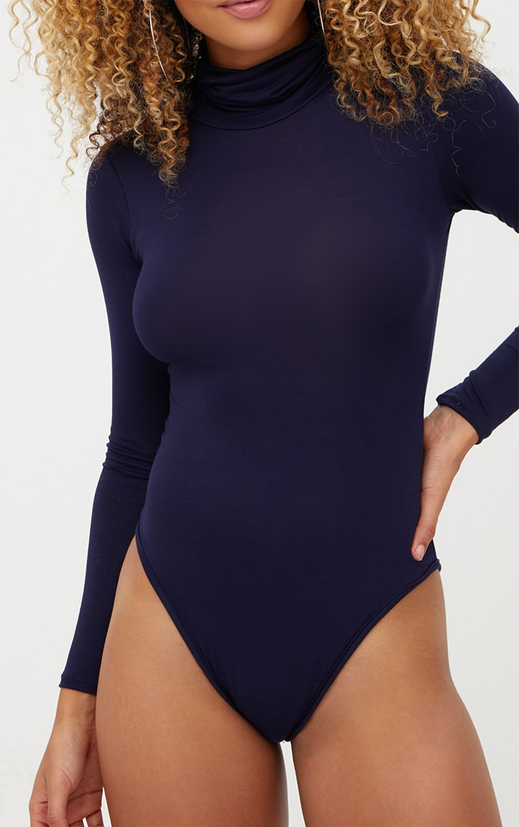 Basic Navy Roll Neck Long Sleeve Bodysuit 6