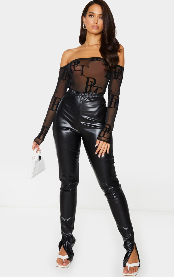 PRETTYLITTLETHING Black Mesh Monogram Bardot Long Sleeve Bodysuit 3