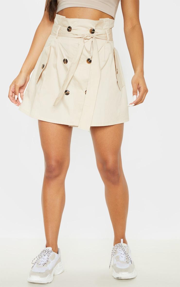 Stone Trench Tie Waist A line Mini Skirt 2
