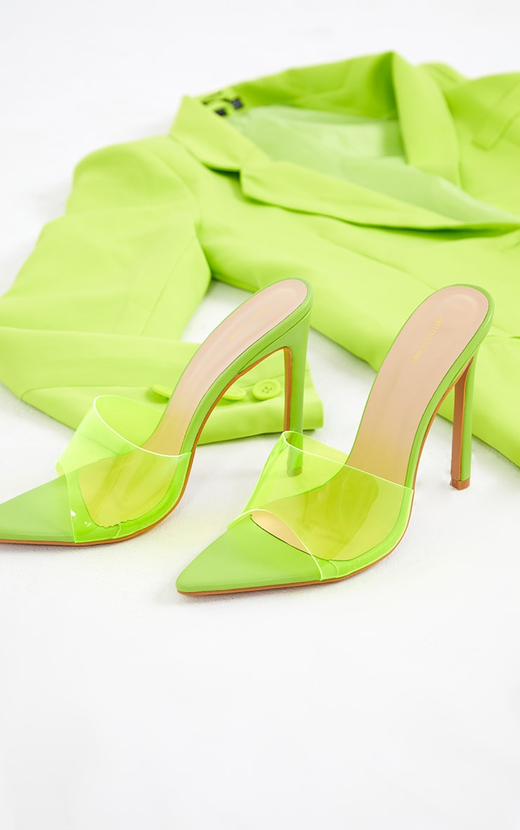 Lime Pointed Clear High Heeled Mules 3