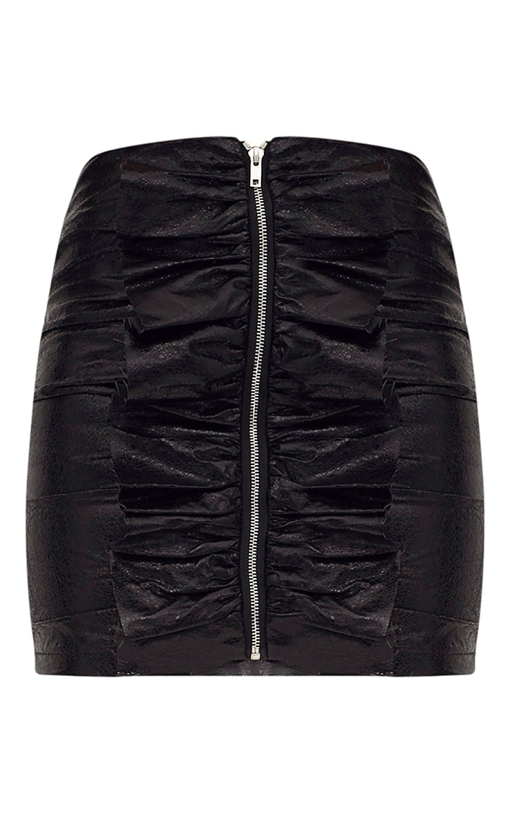 Black Crack Vinyl Zip Frill Mini Skirt 3