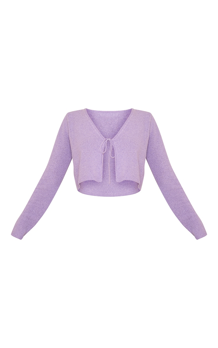 Lilac Tie Front Knitted Cropped Cardigan 5