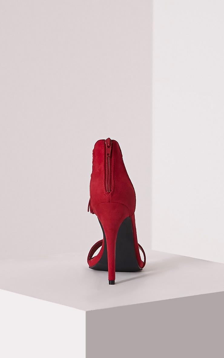 Dulce Red Tassel Tie Heeled Sandals 5