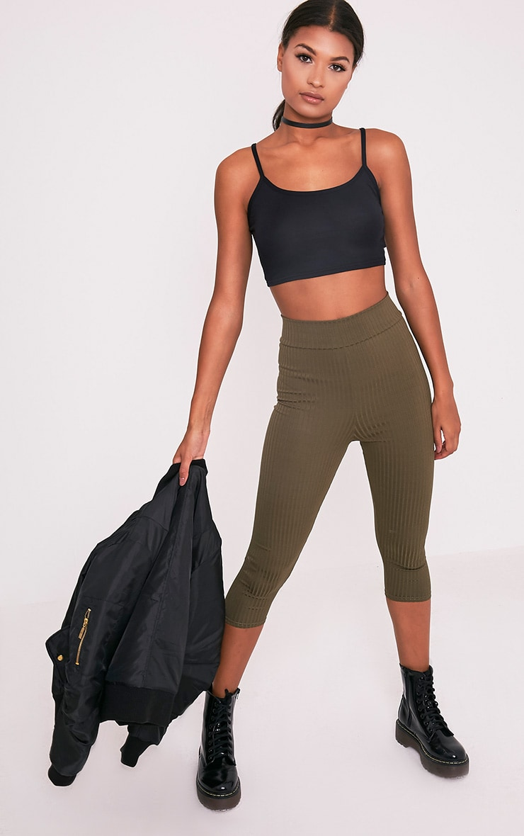 Basic Black Jersey Strappy Crop Top 6