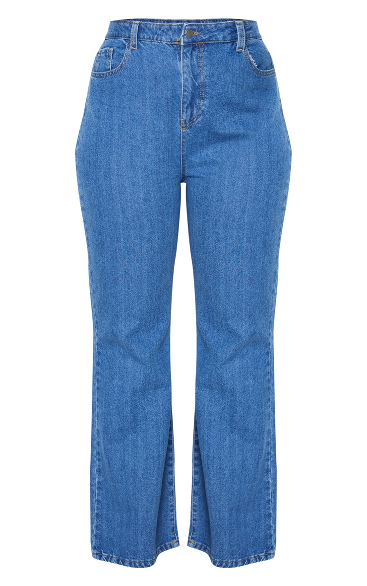 Plus Mid Blue Wash High Waist Flared Jeans 3