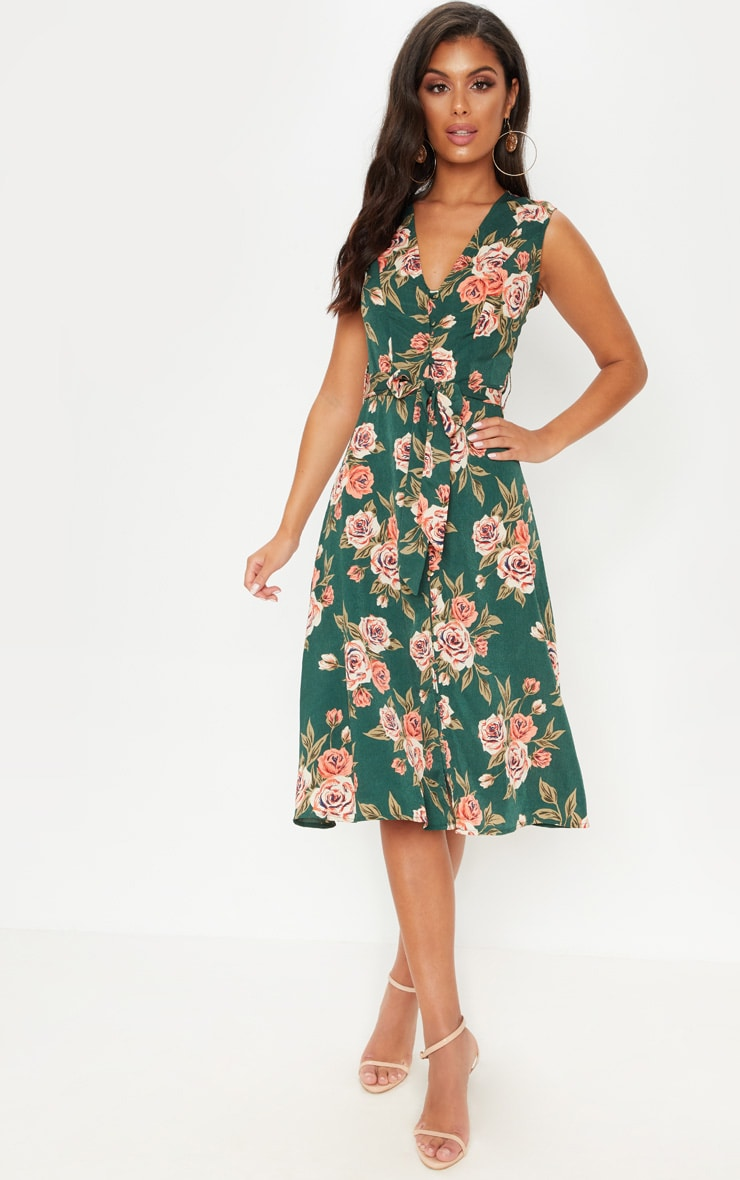 Emerald Green Floral Button Detail Midi Skater Dress 1