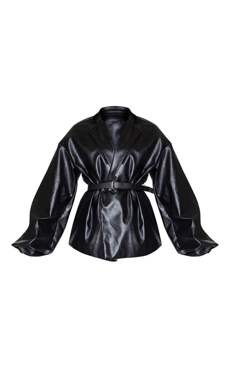 Black PU Puff Sleeve Belted Blazer 5