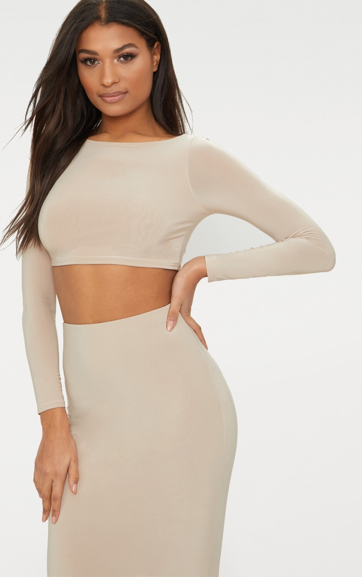 Stone Second Skin Long Sleeve Wide Neck Crop Top  1