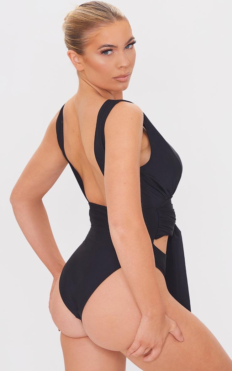 Black Cut Out Bow Tie Waist Swimsuit 2