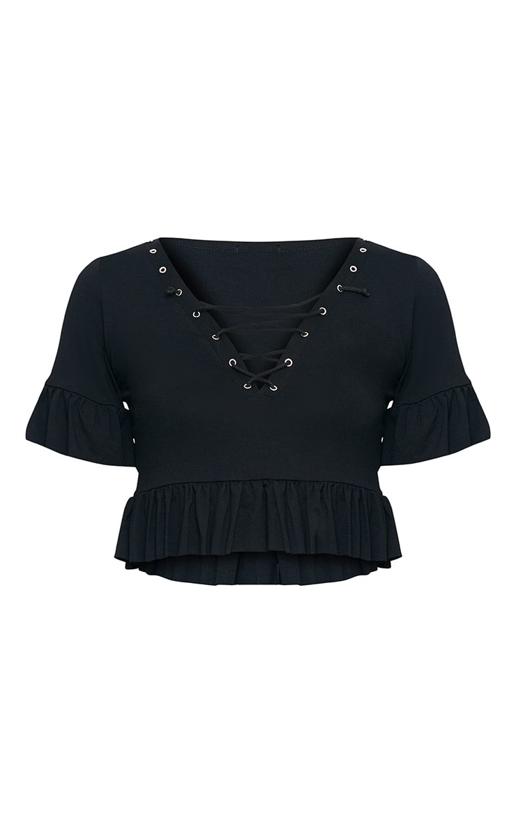 Black Lace Up  Jersey Frill Crop Top  3