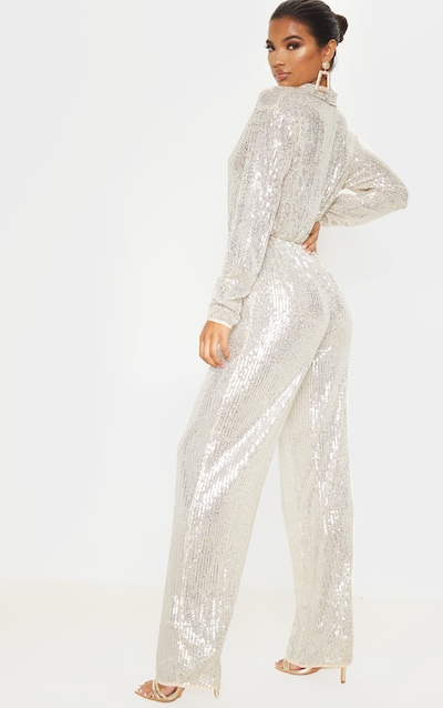 Silver Sequin Collar Detail Long Sleeve Jumpsuit