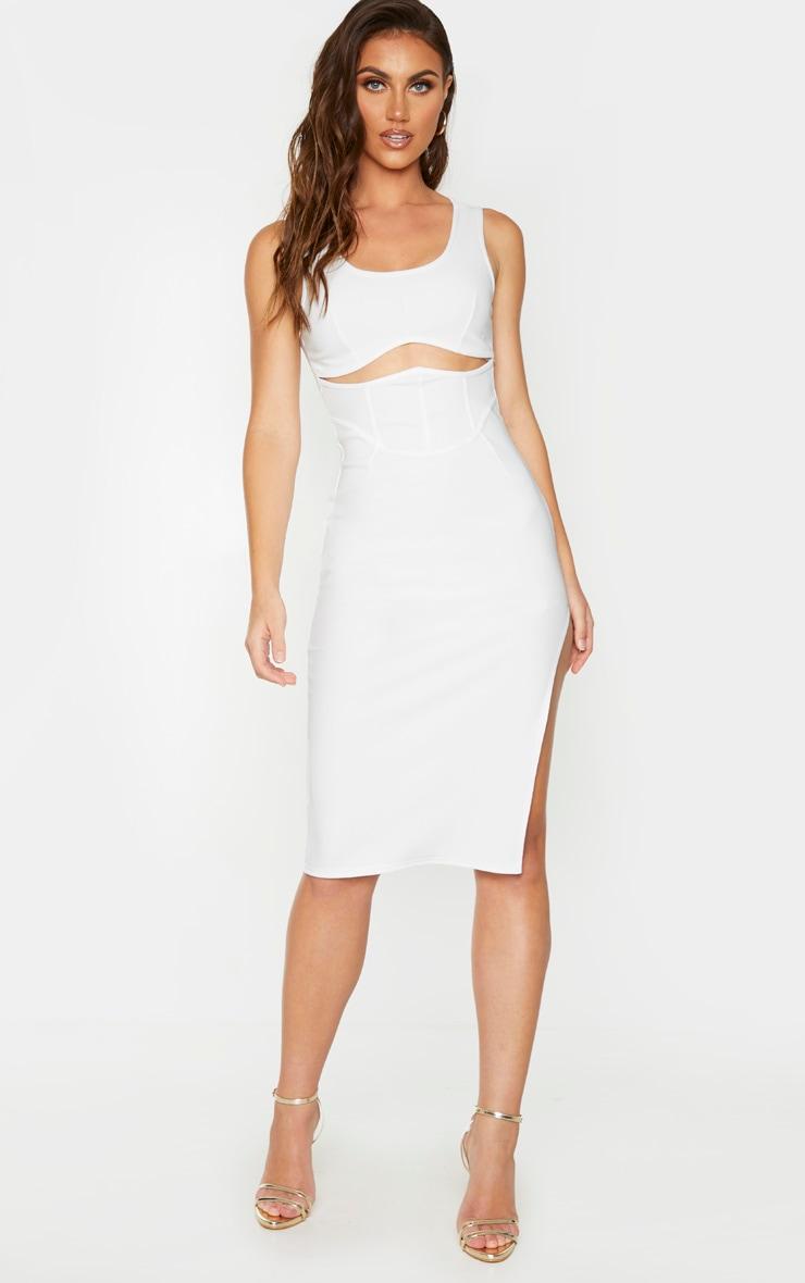 White Bandage Rib Cut Out Corset Detail Sleeveless Midi Dress 1