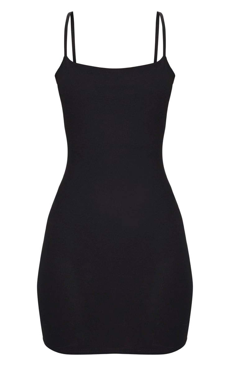 Black Strappy Straight Neck Bodycon Dress 1