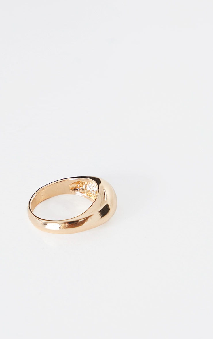 Gold Rounded Plain Ring 3