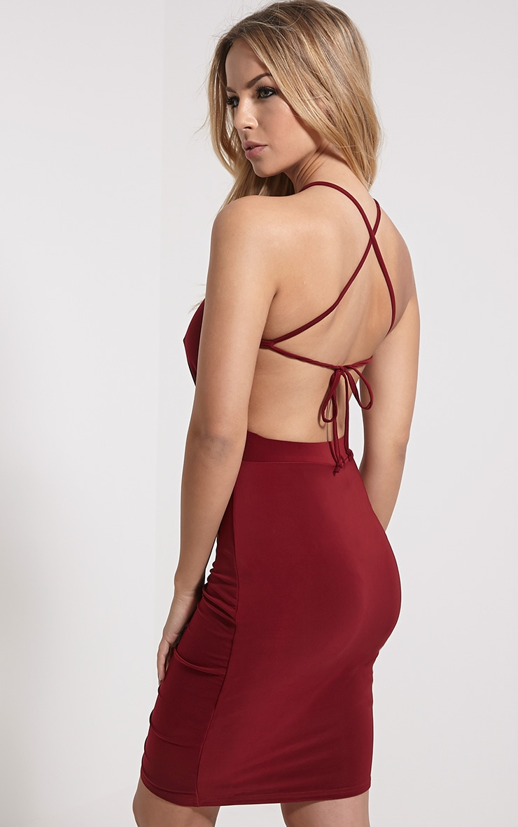 Selina Wine Open Back Dress 4