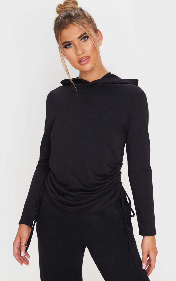 Black Oversized Ruched Side Top 1