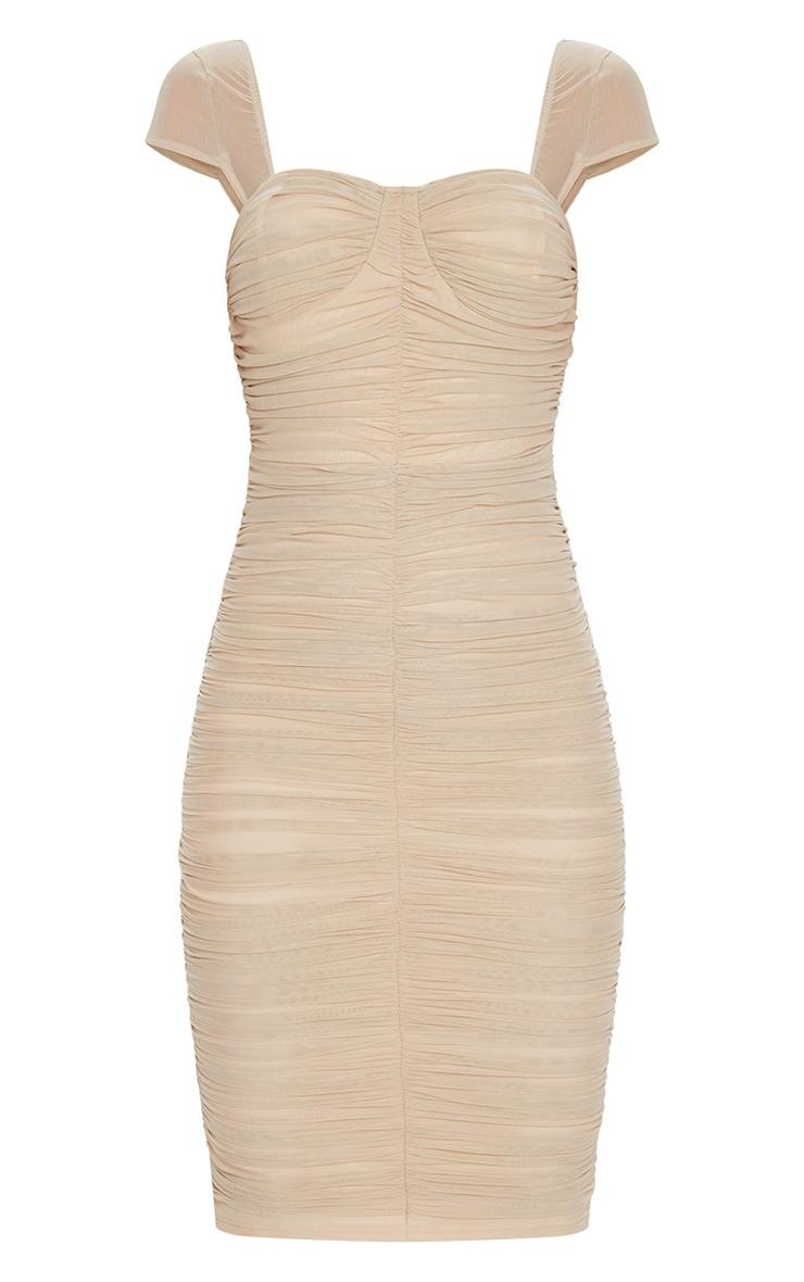 Stone Mesh Ruched Midi Dress 5