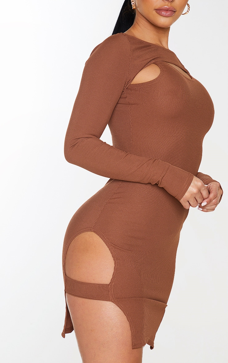 Shape Chocolate Brown Rib Cut Out Long Sleeve Bodycon Dress 4