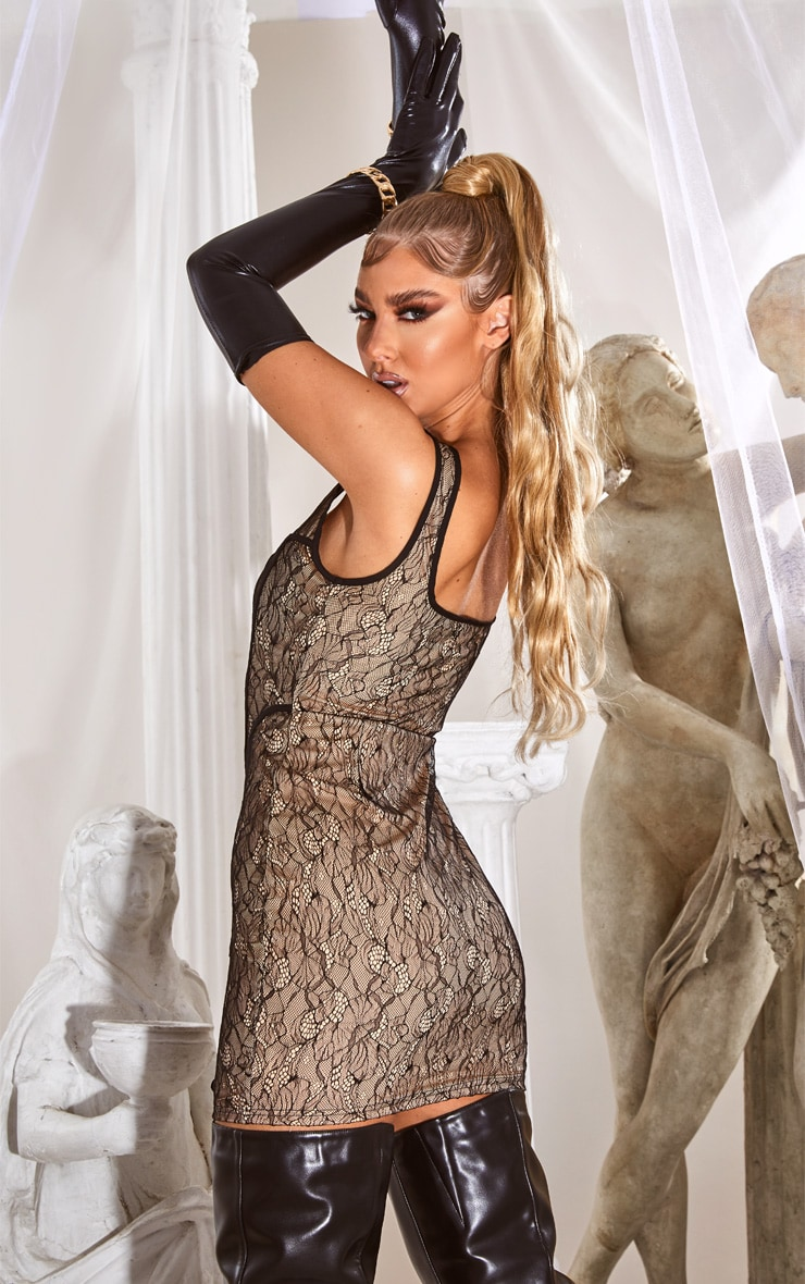 Nude Sleeveless Lace Binding Detail Bodycon Dress 2