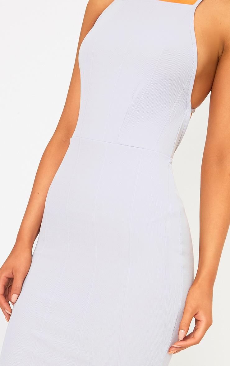Ice Grey Cross Back Frill Hem Bandage Midi Dress 5