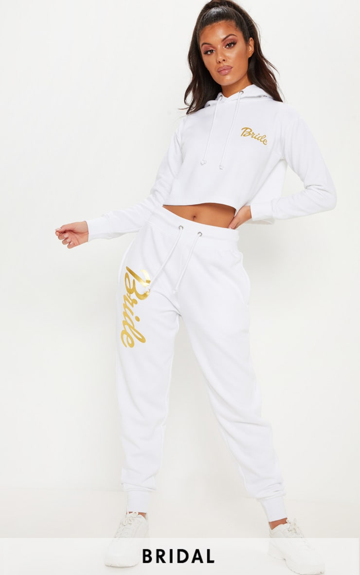 White Bride Slogan Joggers