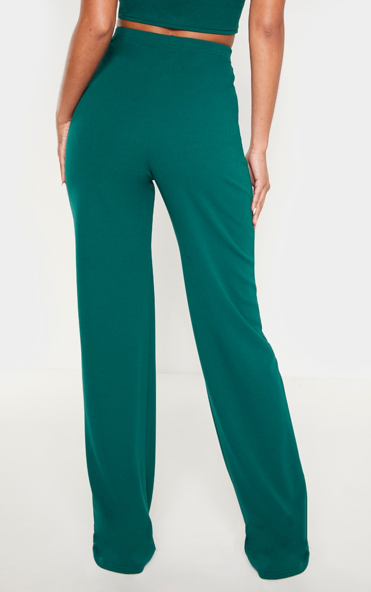 Emerald Crepe High Waisted Wide Leg Pants 4