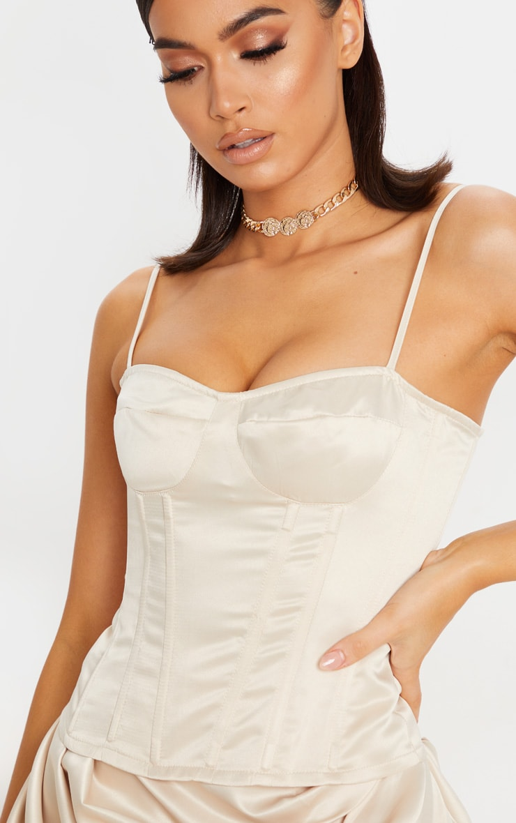 Cream Satin Woven Cup Detail Strappy Corset 5