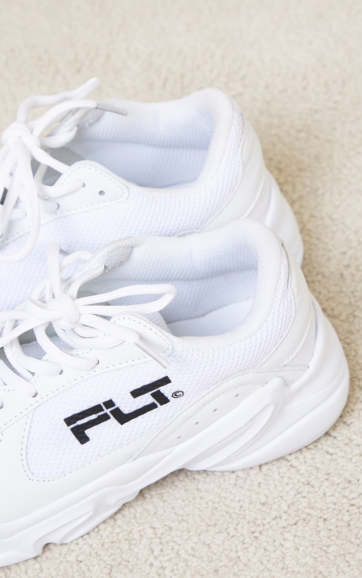 PRETTYLITTLETHING White PU Chunky Sneakers 4