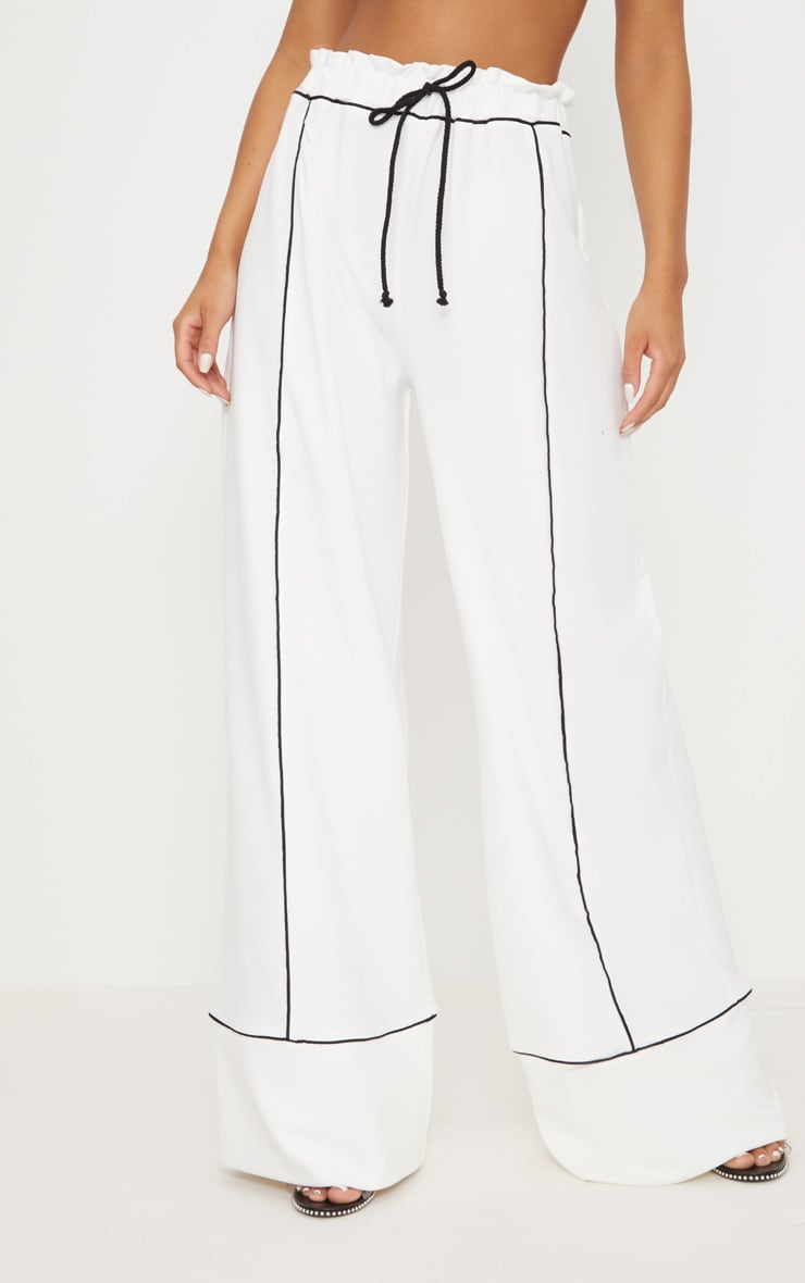 White Contrast Binding Ruched Waist Wide Leg Trouser 2