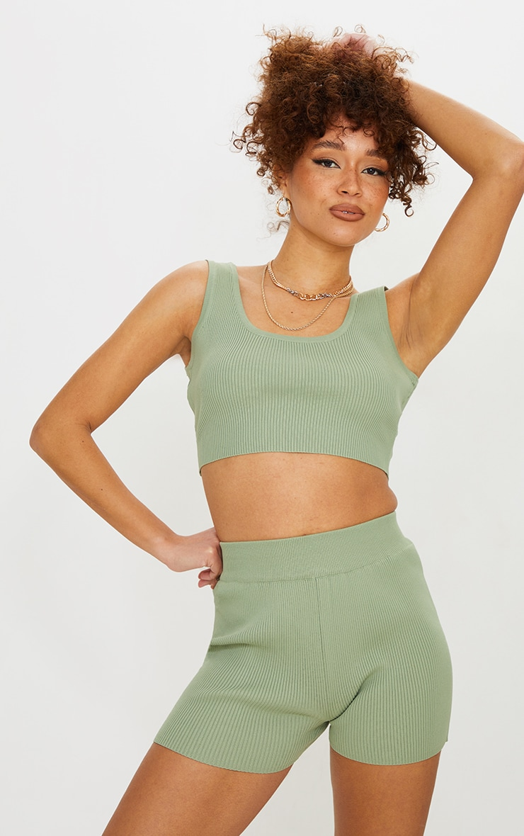 Sage Green Ribbed Scoop Back Knitted Top 1