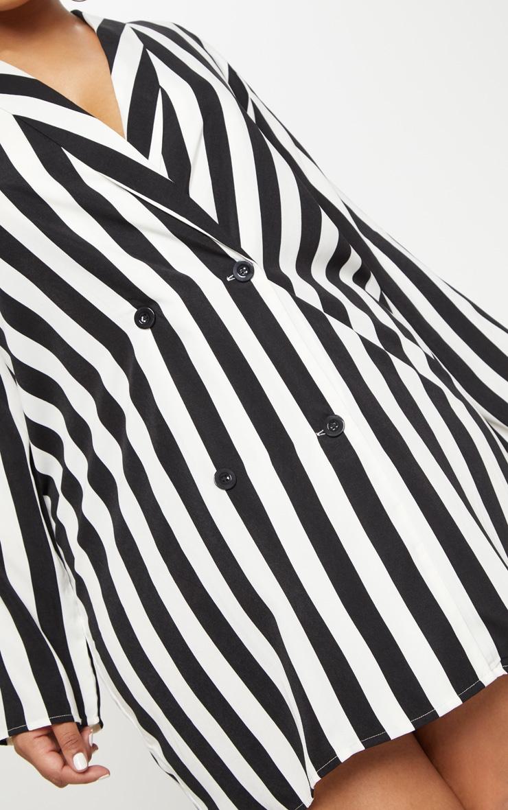 Plus Black Oversized Striped Blazer Dress 4