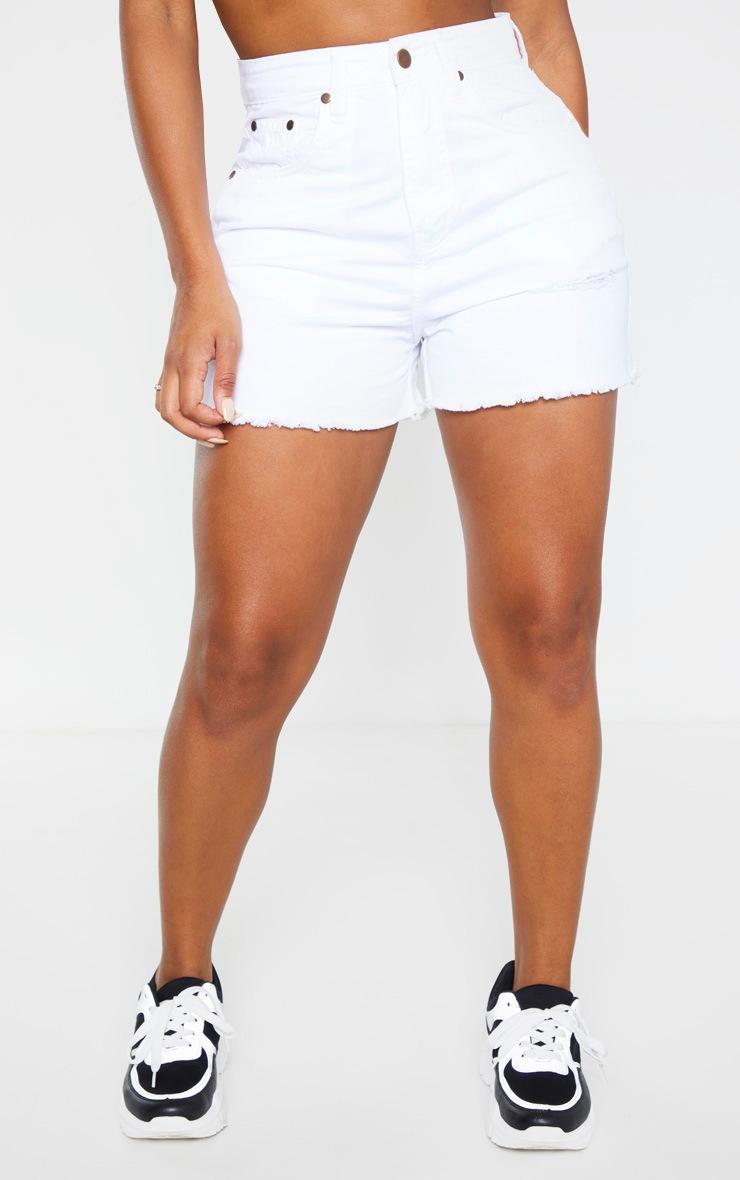 Shape White Denim High Waist Mom Shorts 2