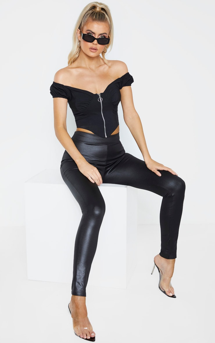 Tall Black Zip Detail Bardot Crop Top 4