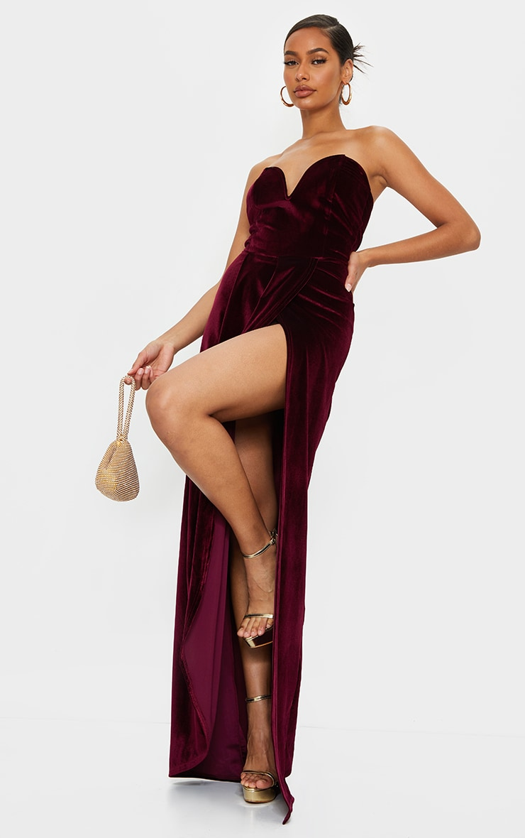 Burgundy Velvet Draped Wrap Detail Bandeau Maxi Dress 3