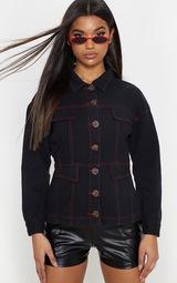 Black Contrast Stitch Tortoise Button Denim Jacket 1
