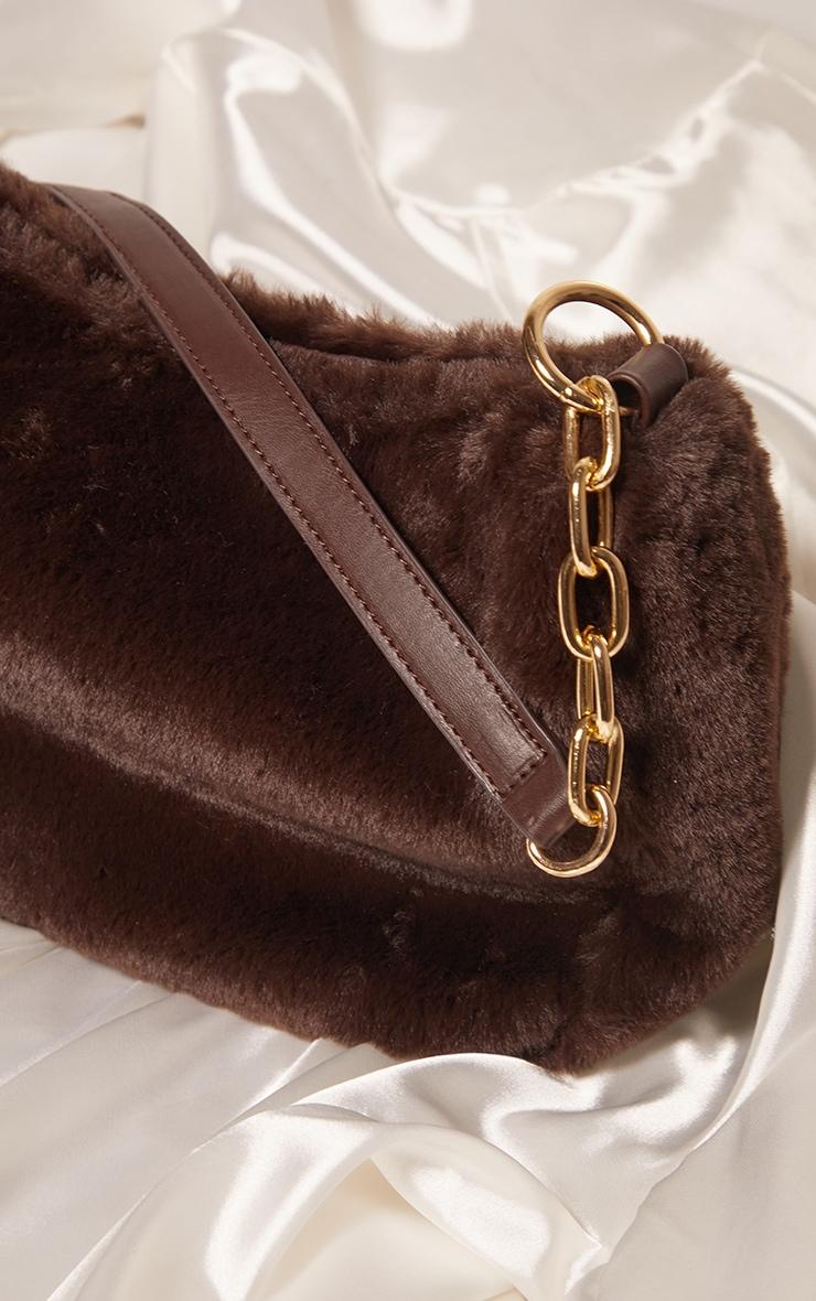 Chocolate Faux Fur Shoulder Bag 2
