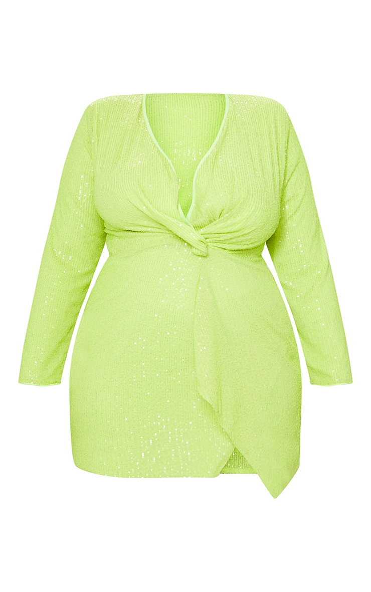 Plus Neon Lime Sequin Long Sleeve Wrap Dress 5