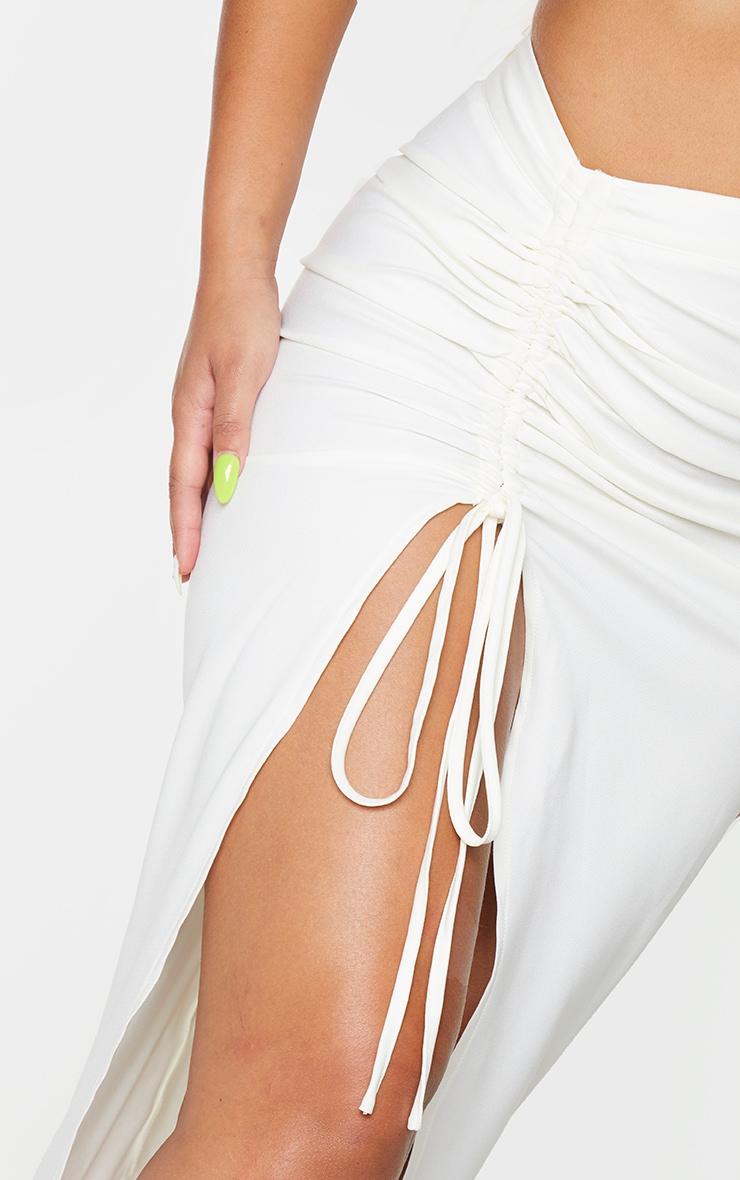 Cream Woven Ruched Detail Midi Skirt 4