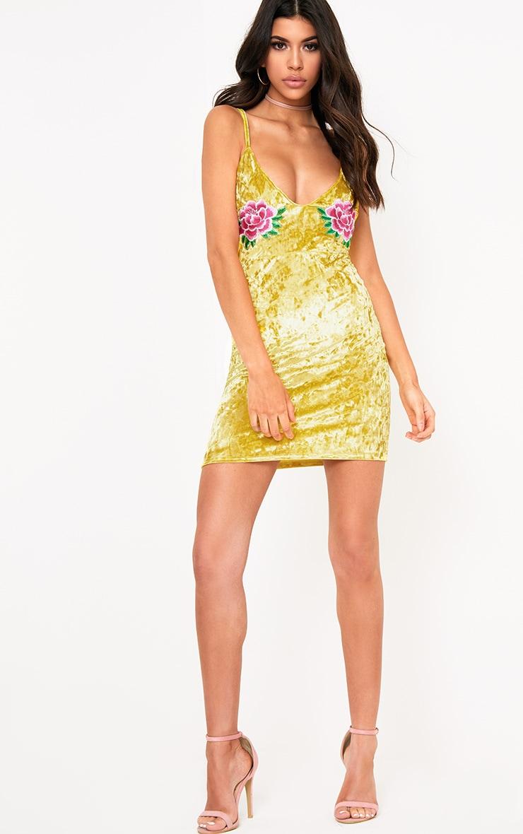 Yellow Velvet Applique Bodycon Dress  4
