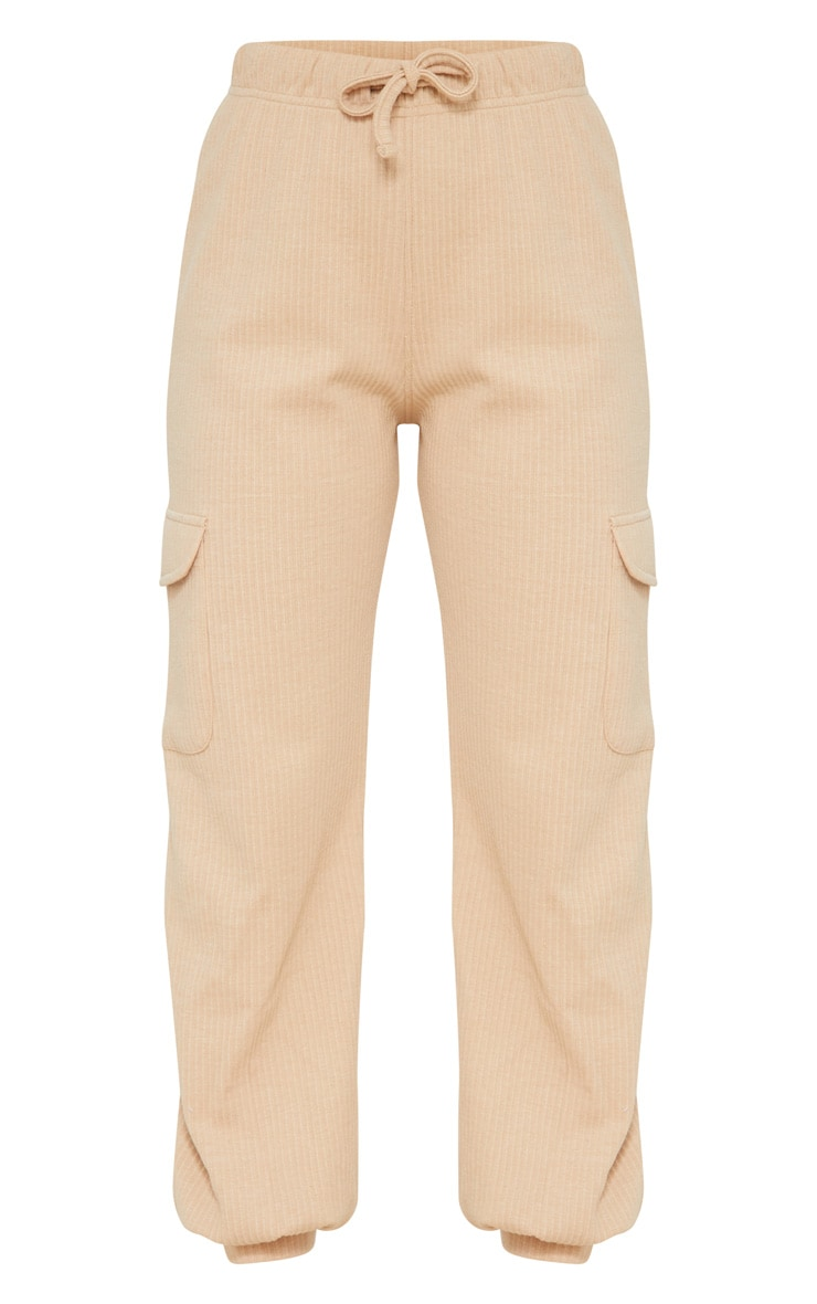 Petite Camel Cargo Detail Ribbed Track Pants 5