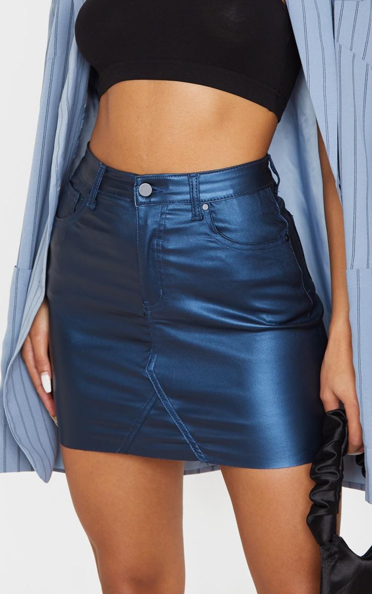 Mini-jupe en denim enduit bleu métallisé 6