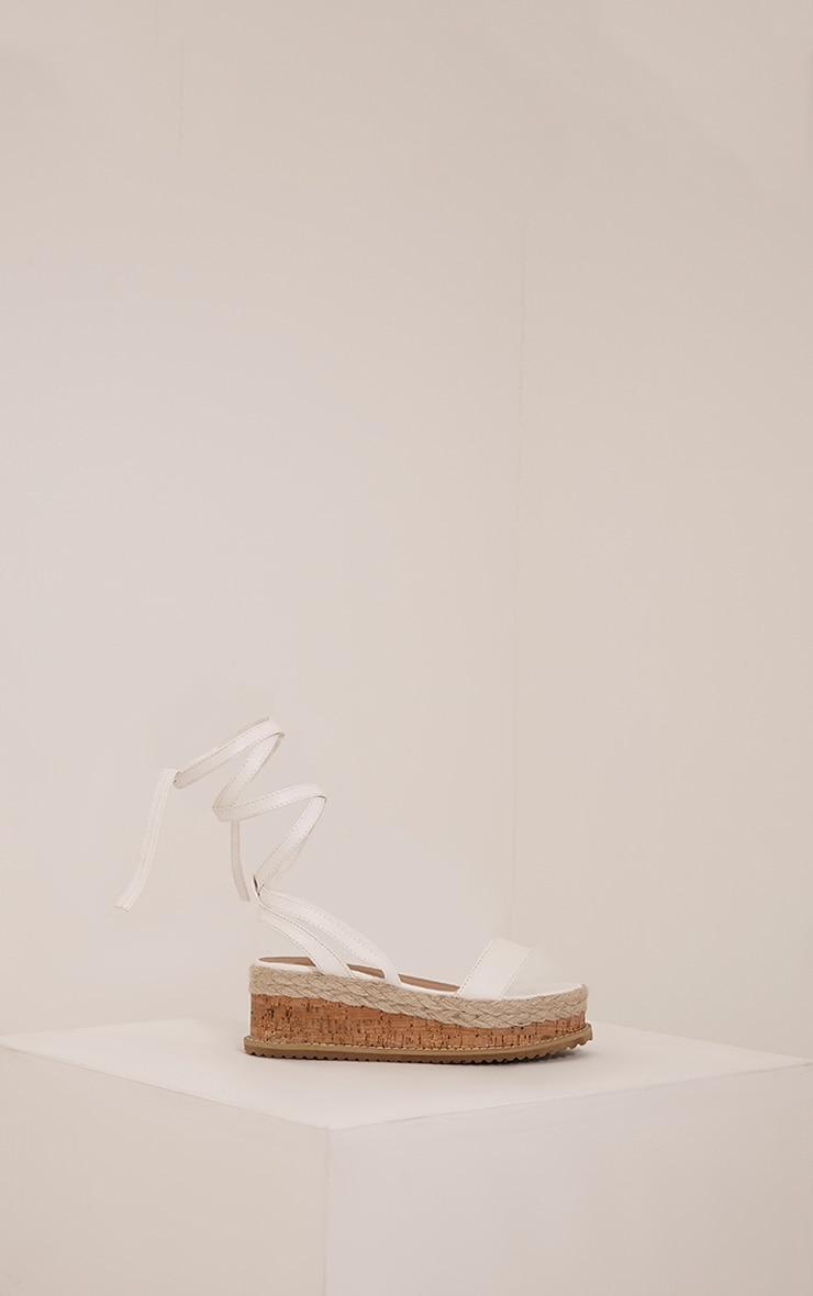 Jacey White Espadrille Flatform Sandals 3