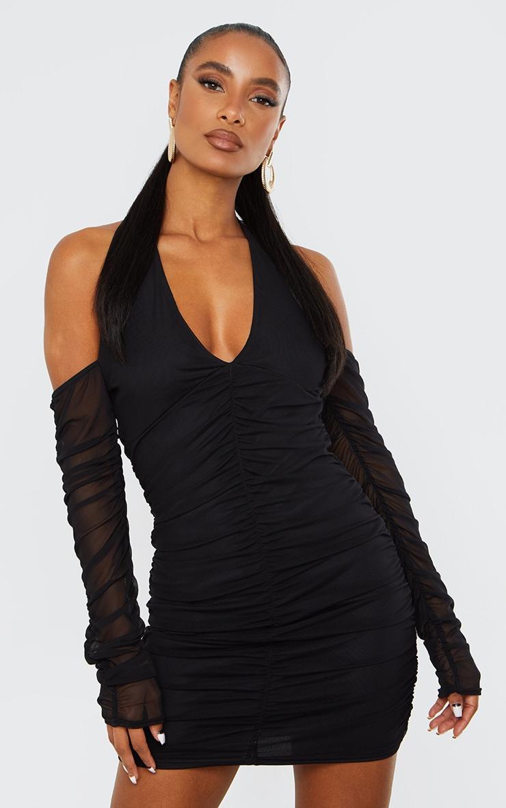 Black Halterneck Long Sleeve Mesh Ruched Bodycon Dress 1