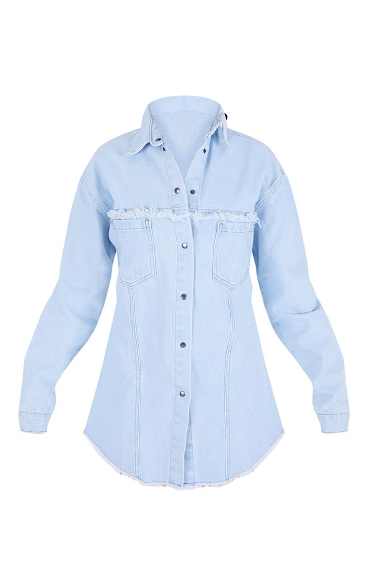 Light Blue Wash Cinched Waist Frayed Denim Shirt Dress 5