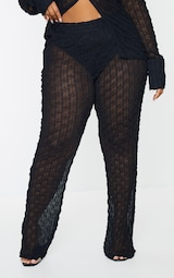Plus Black Mesh Staight Leg Pants 2