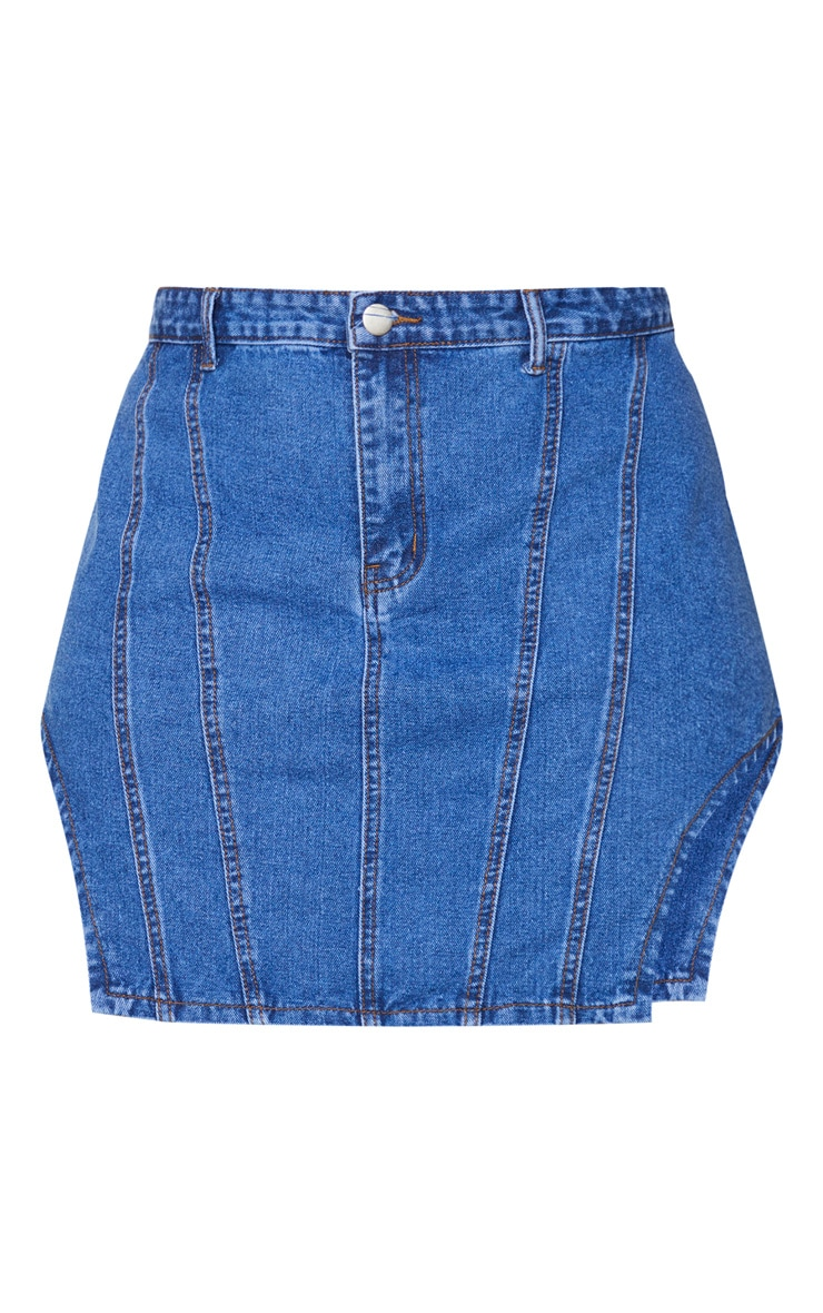 Plus Mid Blue Washed Contrast Stitch Cut Out Hem Denim Skirt 6
