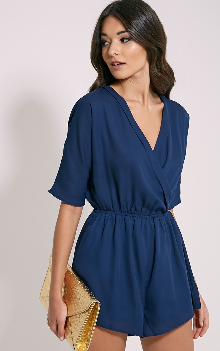 Bobby Navy Wrap Front Playsuit 4