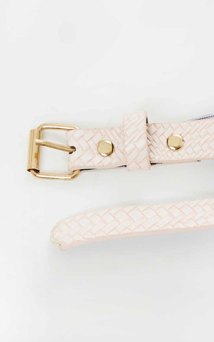 Pink Woven Mini Belt Bag 4
