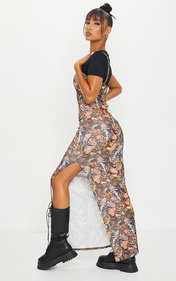 Nude 2 in 1 Butterfly Print Strappy Maxi Dress 2